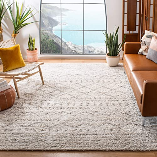 Safavieh Arizona Shag Collection ASG741A Southwestern Ivory and Beige Area Rug 9 x 12