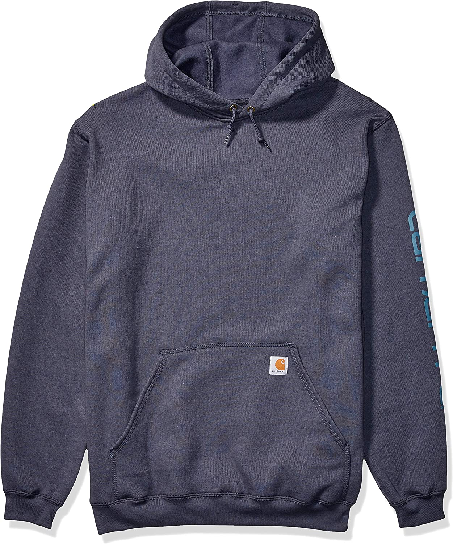 Carhartt Men's Midweight Sleeve Logo Hooded Sweatshirt (Regular and Big & Tall Sizes): Clothing