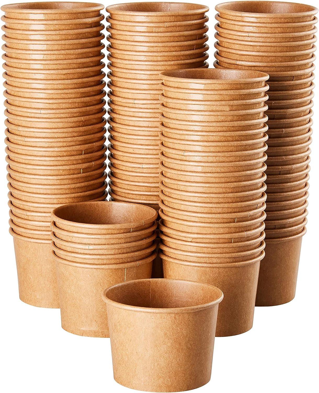 Ice Cream Sundae Cups - 100-Piece Disposable Kraft Paper Dessert Ice Cream Yogurt Bowls Party Supplies, 5-Ounce, Brown