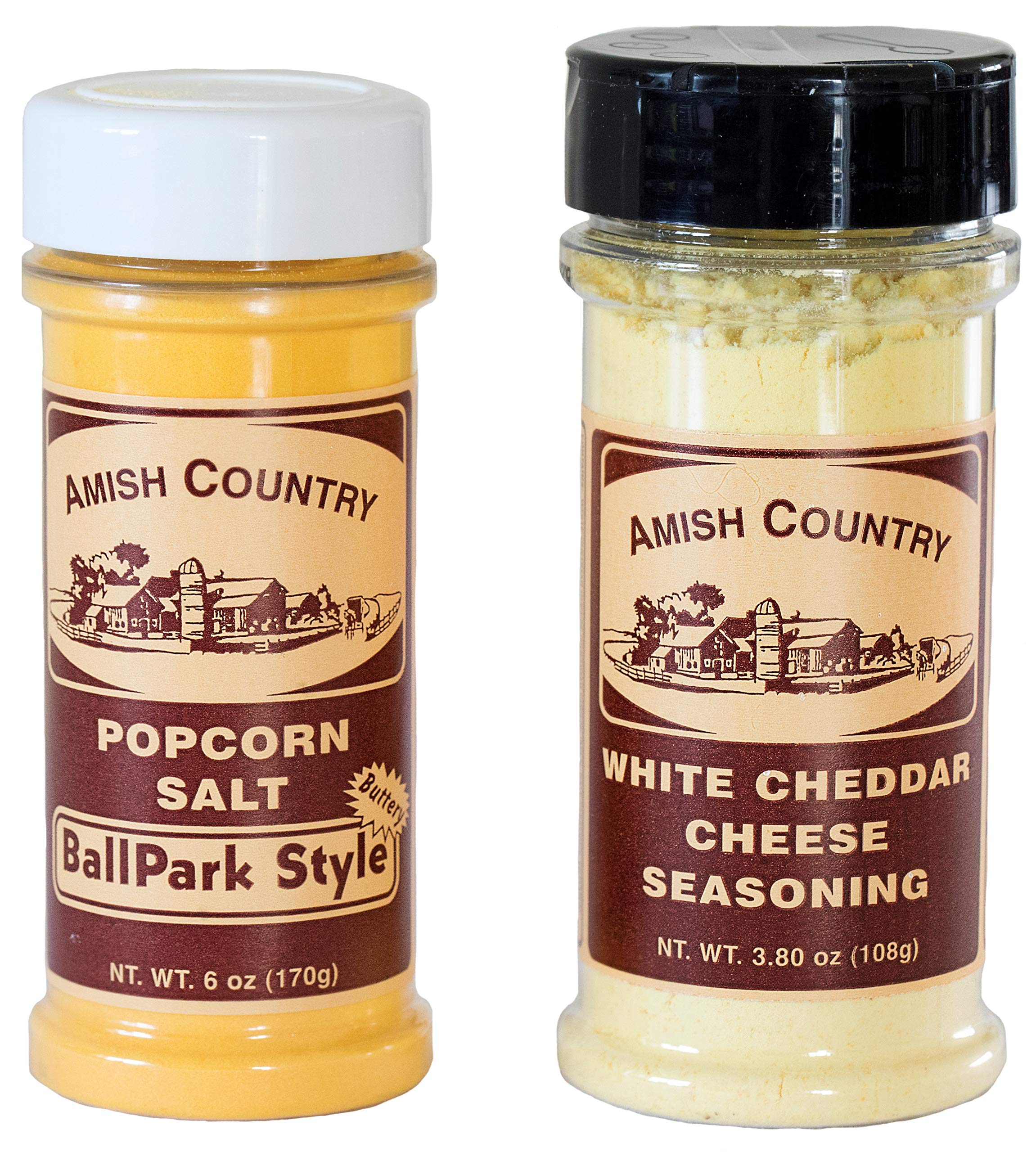 Amish Country Popcorn - BallPark Style Buttersalt (6 Oz) & White Cheddar (3.8 Oz ) 2 Pack Popcorn Seasonings - Old Fashioned with Recipe Guide by Amish Country Popcorn