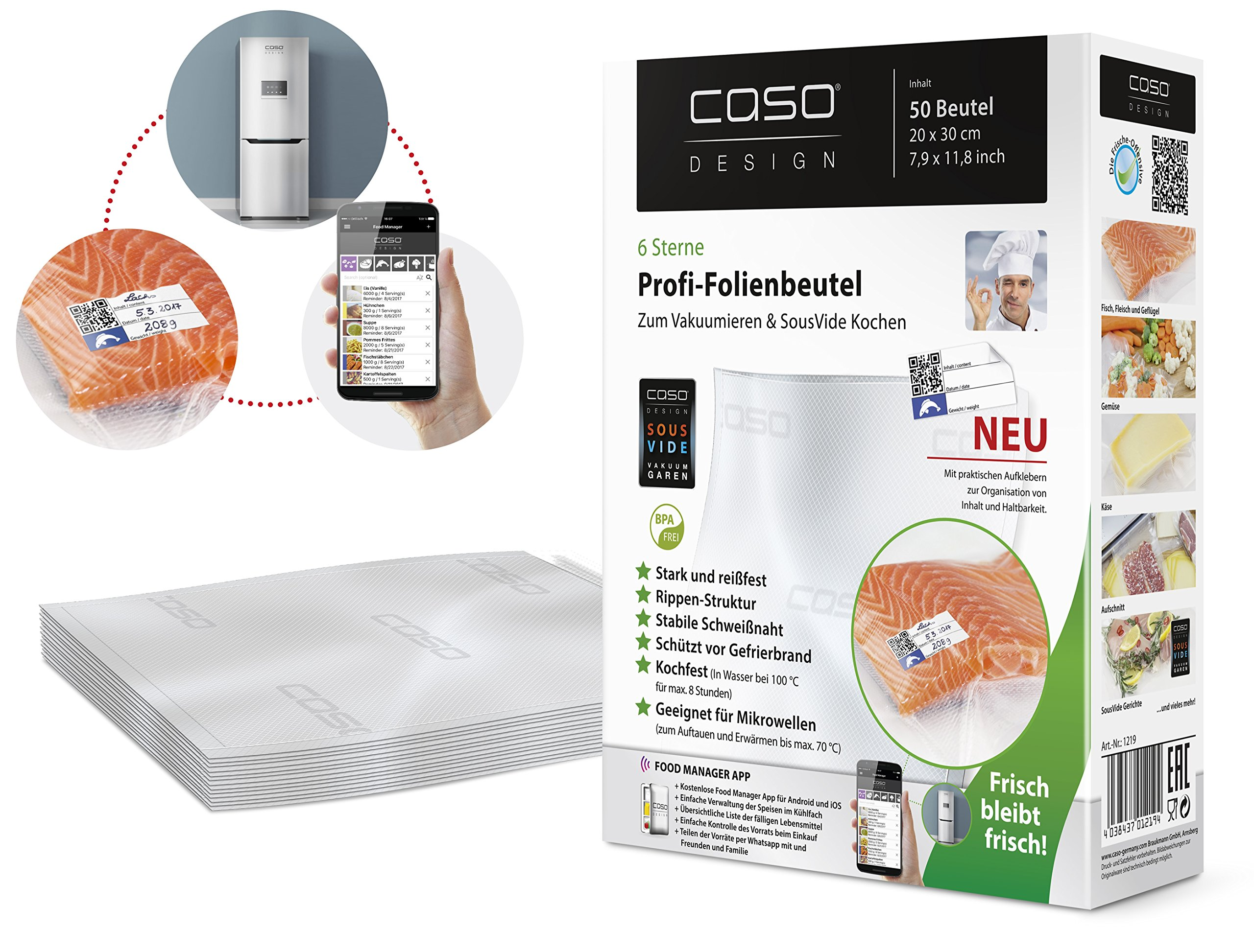 CASO 50-Piece Vacuum Sealer Bag, 6.3 by 9.1-Inch