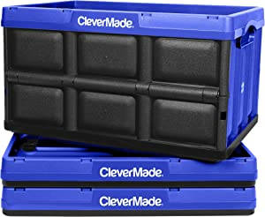 CleverMade 46L Collapsible Storage Bins - Durable Plastic Folding Utility Crates, Solid Wall Stackable Containers for Home & Garage Organization, Royal Blue, 3 Pack (8031843-7033PK)