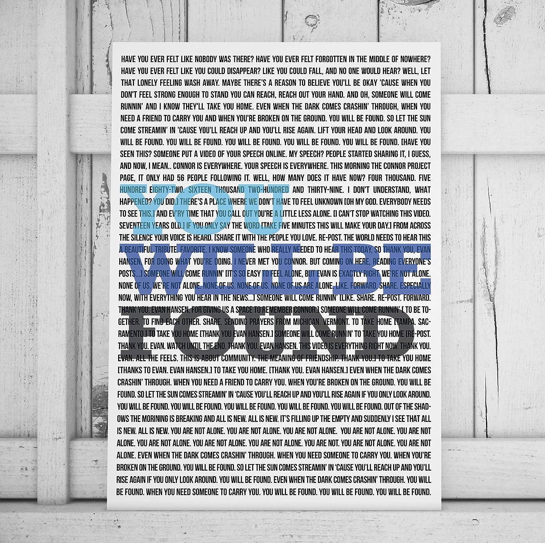 Minitowz Broadway Musical Print/Poster, Broadway Musical Lyrics, You Will Be Found Lyrics, Dear Evan Hansen Art