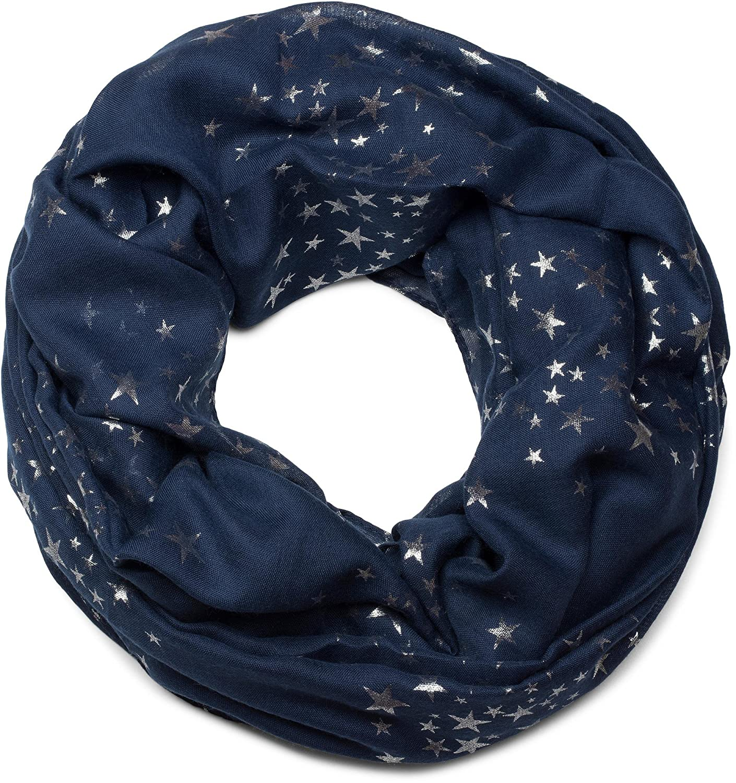styleBREAKER écharpe snood avec motif imprimé d étoiles métalliques  scintillantes un peu partout, écharpe 01ecb6dc401