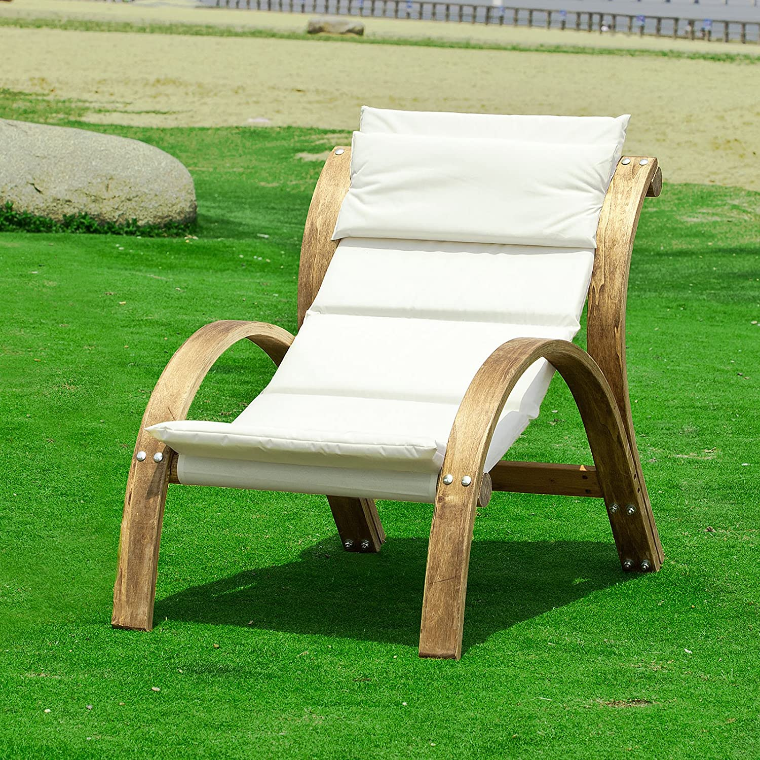 Garden sun lounger bed recliner chair patio outdoor wooden for Chaise relax jardin