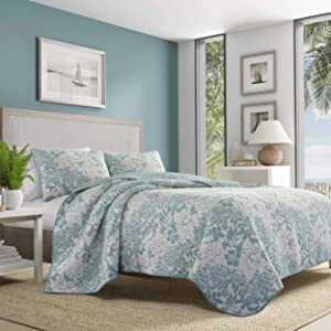 Tommy Bahama Laguna Beach Quilt Set, King, Aqua Blue