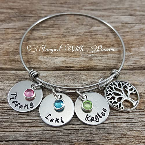 338326eaa4a9 Mom bangle bracelet - Personalized birthstone name charm family tree  bracelet - Hand stamped Jewelry -Christmas Gift - Grandma bracelet -  Stainless ...