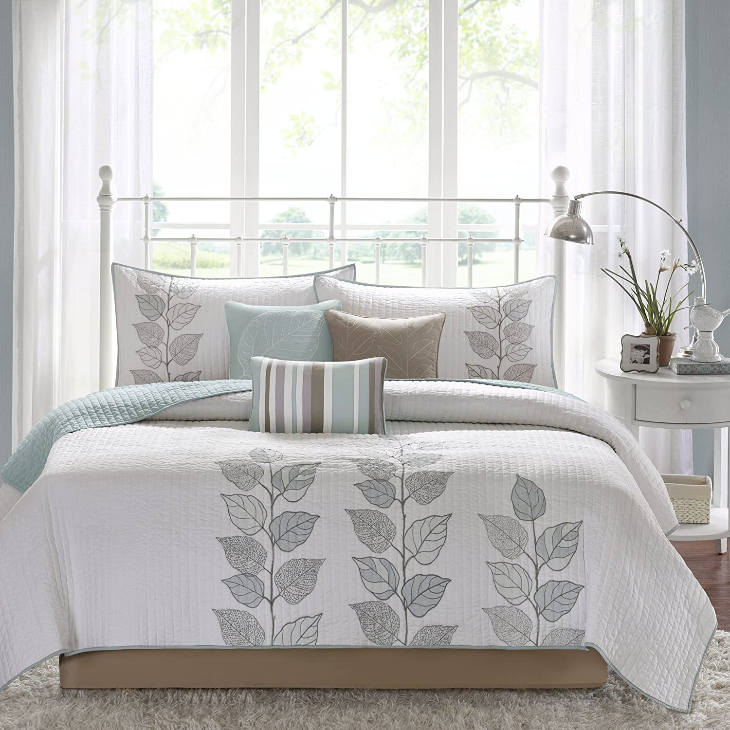 Madison Park Caelie King Size Quilt Bedding Set - Aqua, White, Leaf Embroidery – 6 Piece Bedding Quilt Coverlets