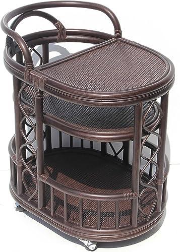 SunBear Furniture Moving Serving Cart Bar Table Natural Rattan Wicker Exclusive Handmade ECO, Dark Brown