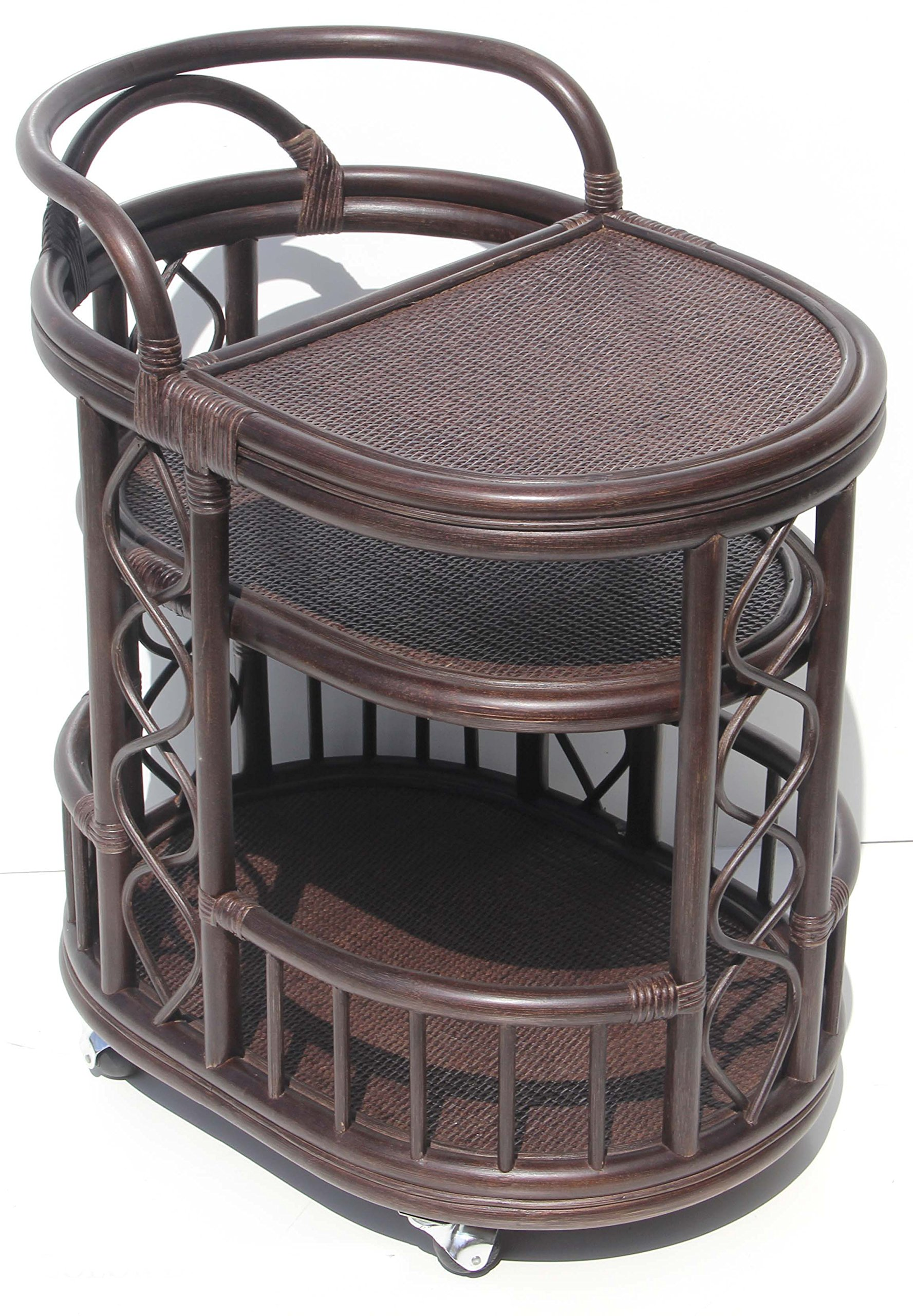 Moving Serving Cart Bar Table Natural Rattan Wicker Exclusive Handmade ECO, Dark Brown