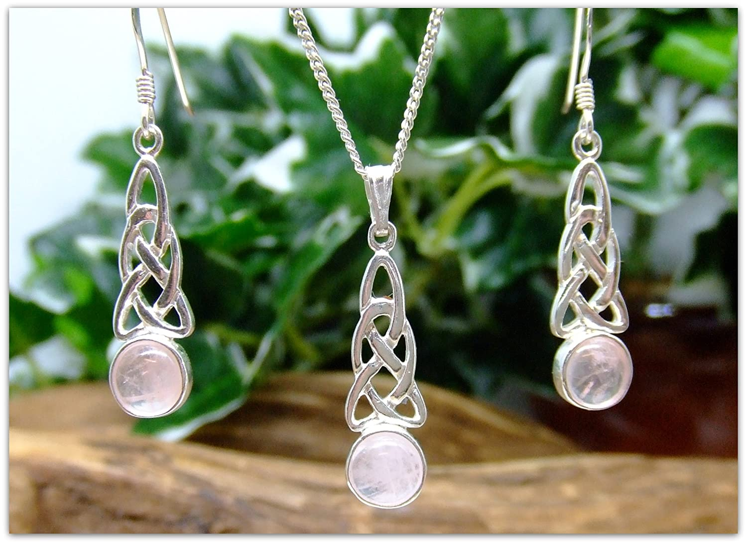 Celtic Rose Quartz Sterling Silver Necklace and Earring Set Gemstone 18 silver chain birthday gift for her mother gift bridesmaid Christmas