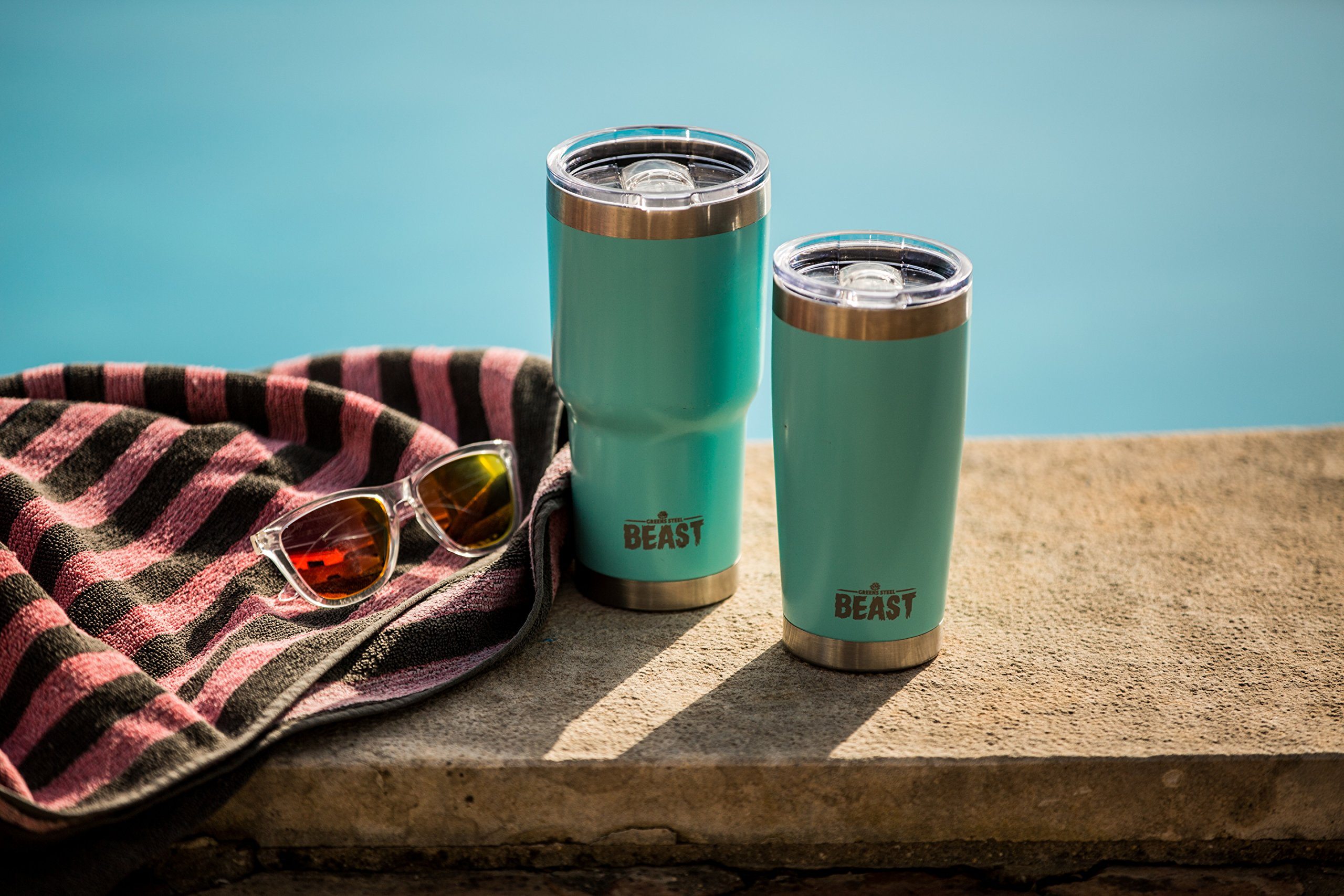 BEAST 30 oz Teal Tumbler Stainless Steel Insulated Coffee Cup with Lid, 2 Straws, Brush & Gift Box by Greens Steel (30oz, Aquamarine Blue) by Greens Steel (Image #3)