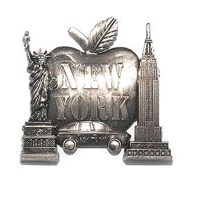 Big Apple New York Souvenir Metal Fridge NY Magnet - Brooklyn Bridge,Chrysler Building,Statue of Liberty,Empire State Building NYC Metal Magnet (Pack 1)