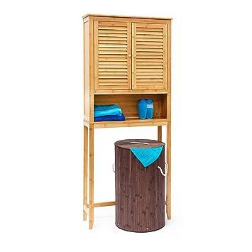 Relaxdays Meuble Dessus Machine A Laver Bambou Salle De Bain Lamell