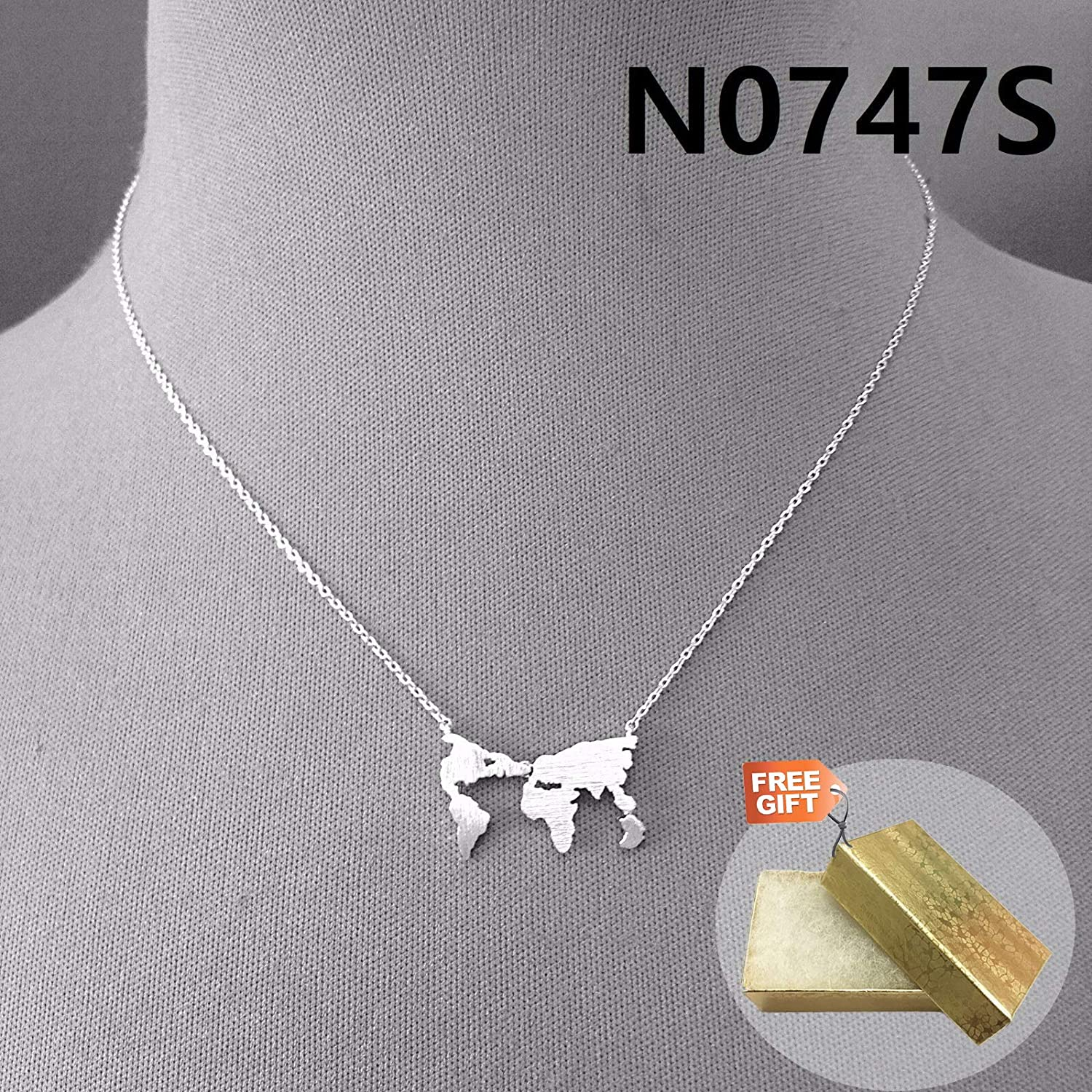 Gold Cotton Filled Gift Box for Free Simple Silver Finished Mini Map World Earth Shape Pendant Necklace N0747S