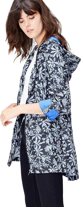 Marke find Regenmantel Damen mit Kapuze und Leoparden-Print