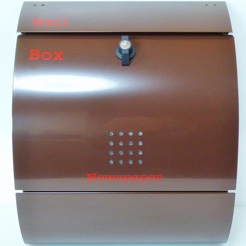 郵便ポスト 郵便受け 大型メールボックス壁掛けブラウン色プレミアムステンレスポストpm032 B018NNWHOC 12880