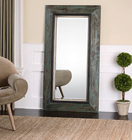 Amazon.com: Oversize Distressed Teal Wood Mirror | Wall Floor or ...