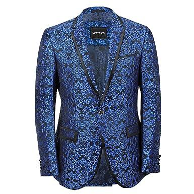 489ff844b642 Bleu cachemire italien pour homme Motif Costume veste Blazer ajusté ...