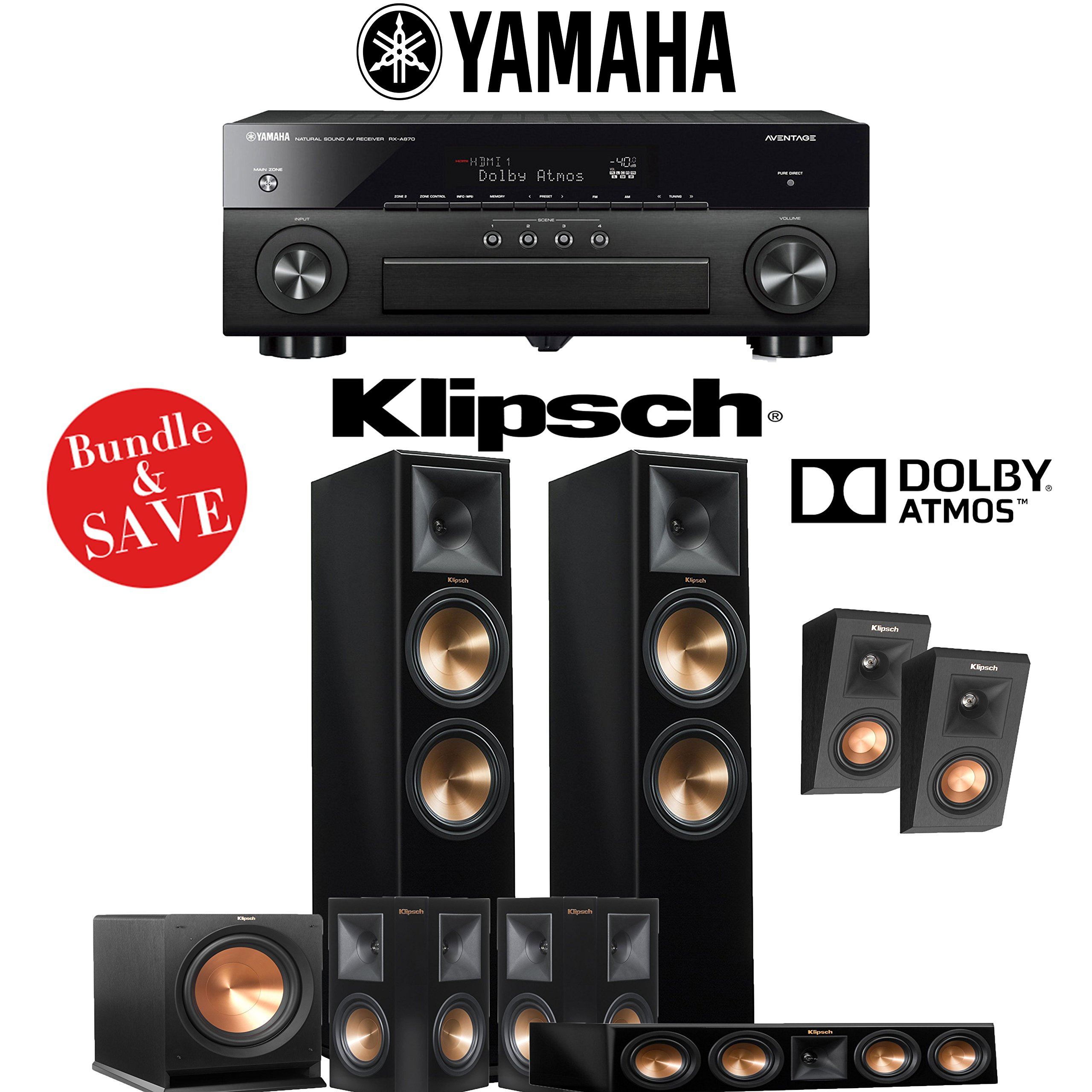 Klipsch RP-280F 5.1.2-Ch Reference Premiere Dolby Atmos Home Theater System (Piano Black) with Yamaha AVENTAGE RX-A870BL 7.2-Channel Network A/V Receiver by Klipsch