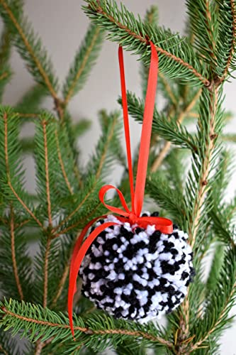 modern holiday decor pom pom christmas ornament pom pom christmas tree decoration red black and white - Modern Christmas Tree Decorations