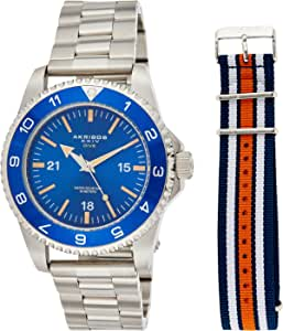 Akribos XXIV Men's Stainless Steel Diver Watch – Dial With Bonus Patriotic NATO Fabric Strap