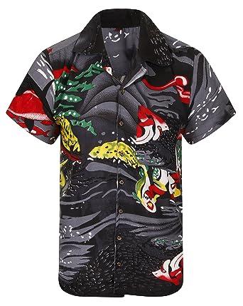 HAWAIIAN SHIRT AND SHORTS SET PARTY FANCY DRESS S XL XXL BEACH PALM TREE STAG