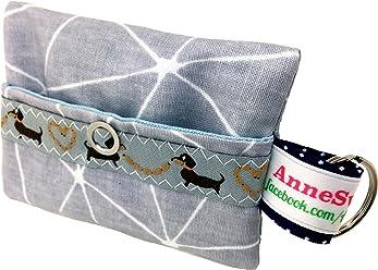 Kackbeutel hellgrau Muster Hundekotbeutel Spender Hundetüte Leckerli Tasche aus Wachstuch Gassi gehen Waste Geschenk Hundebesitzer Poop Bag Chien