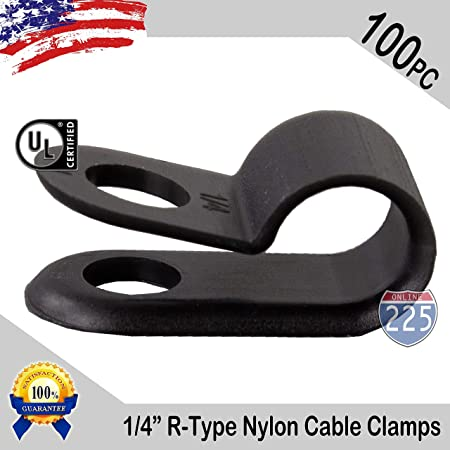 """100 PCS PACK 5//16/"""" Inch R-Type CABLE CLAMPS NYLON BLACK HOSE WIRE ELECTRICAL UV"""
