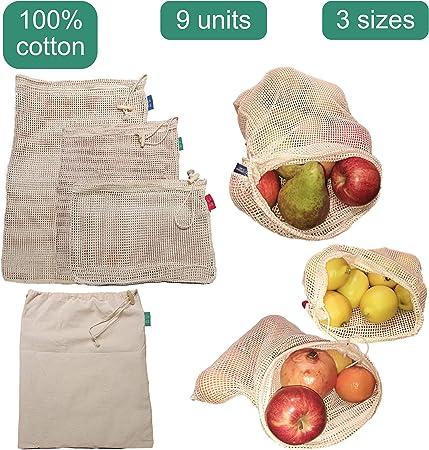 Greenful Planet Bolsas Reutilizables Premium de Algodón Orgánico. Bolsas de Malla Lavables y Transpirables para Almacenar Frutas y Verduras. 9 Unidades.: Amazon.es: Hogar