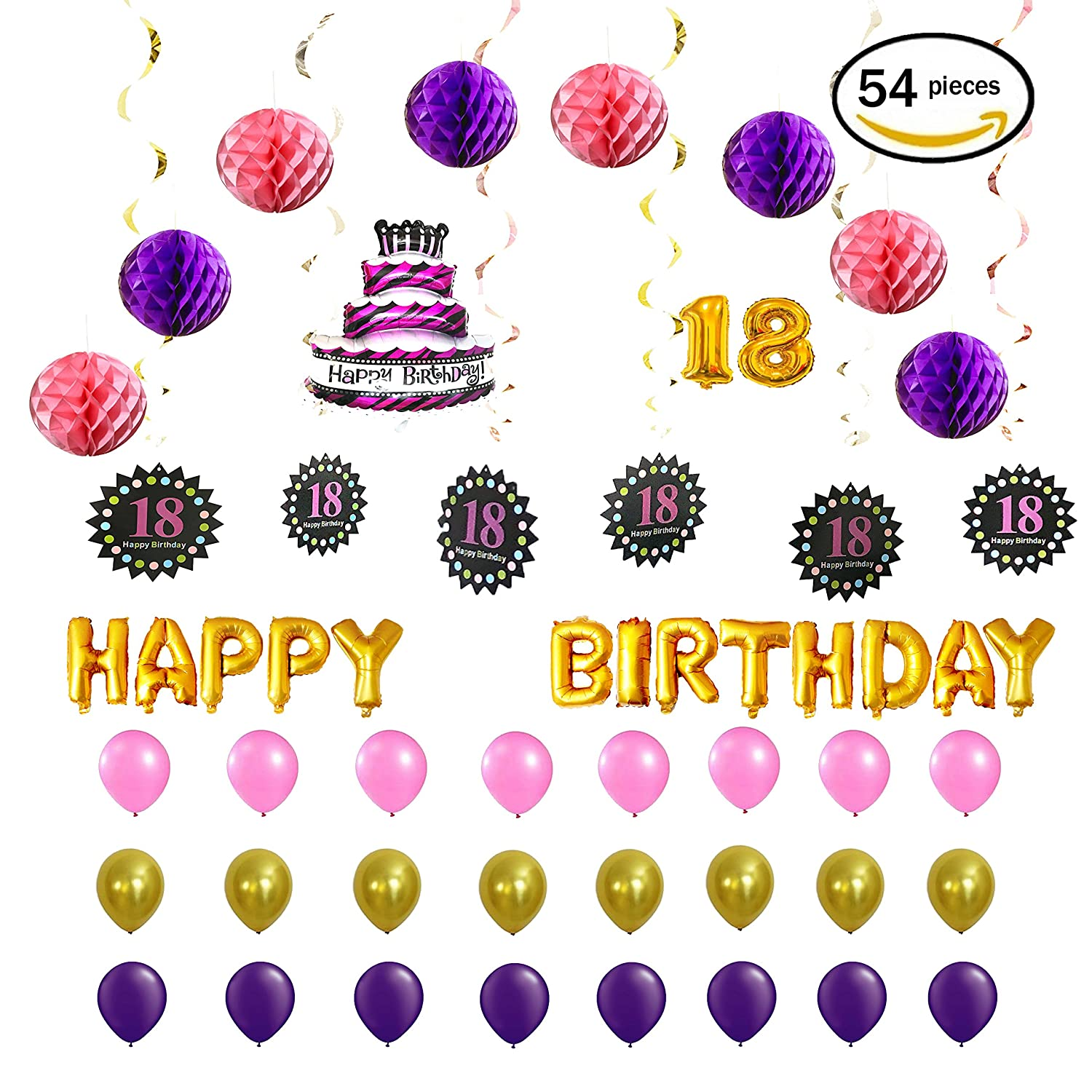 Amazon Pink And Purple Happy 18th Birthday Decorations Foil Letters Balloon Set 16 Inch Gold Letter Mylar Balloons 8 Honeycomb