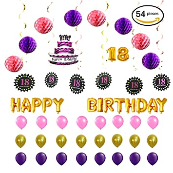 Pink And Purple Happy 18th Birthday Decorations Foil Letters Balloon Set 16 Inch Gold Letter