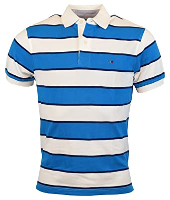 b7399dcc8c58 Tommy Hilfiger Mens Classic Fit Striped Cotton Polo Shirt - XXL -  Blue White at Amazon Men s Clothing store
