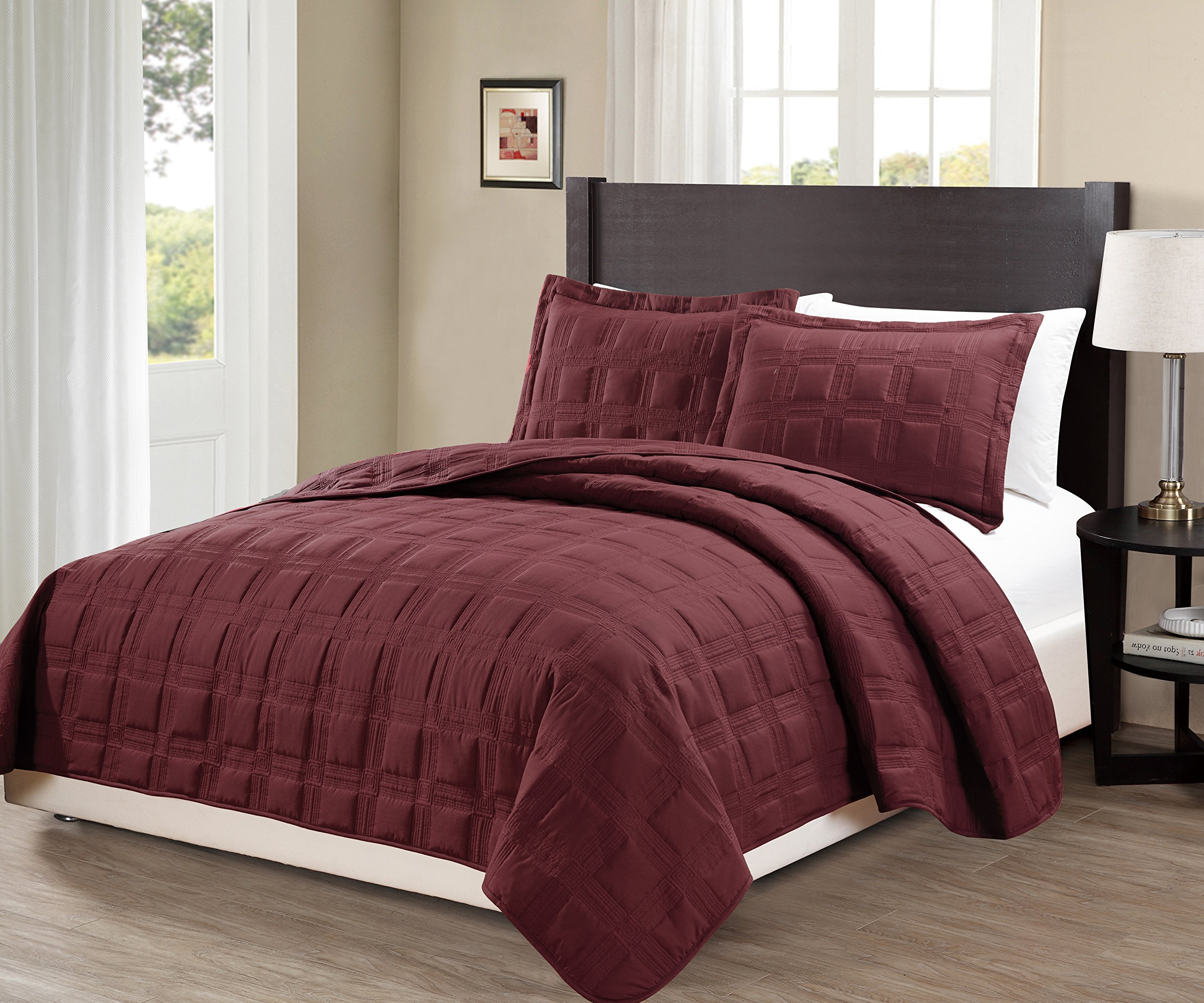 Fancy Collection 3pc King/California King Oversize Quilted Embroidery Bedspread Coverlet Set Solid Burgundy New