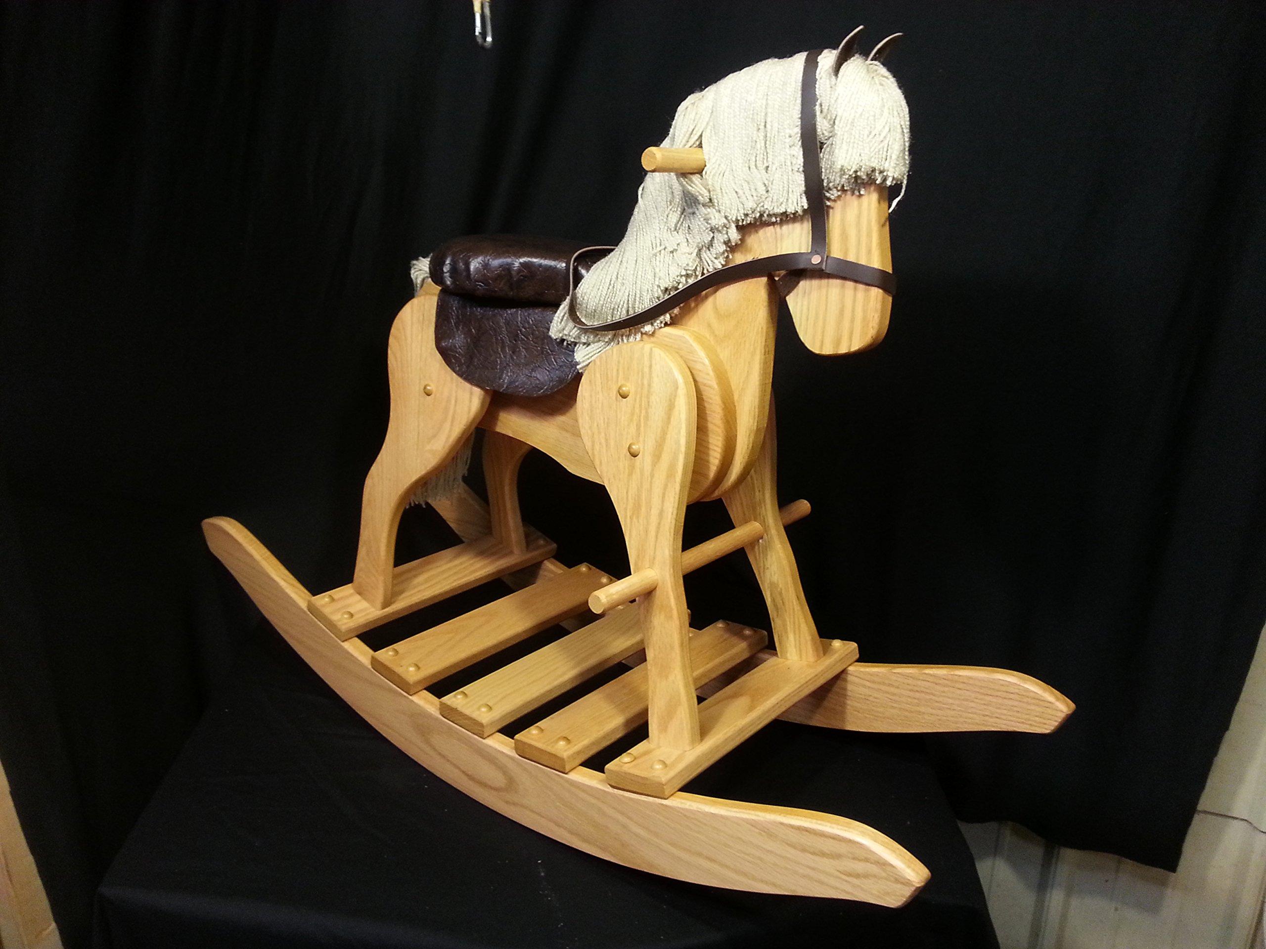 Wooden Medium Rocking Hobby Horse Solid Oak Kids Toy Golden Oak Stain