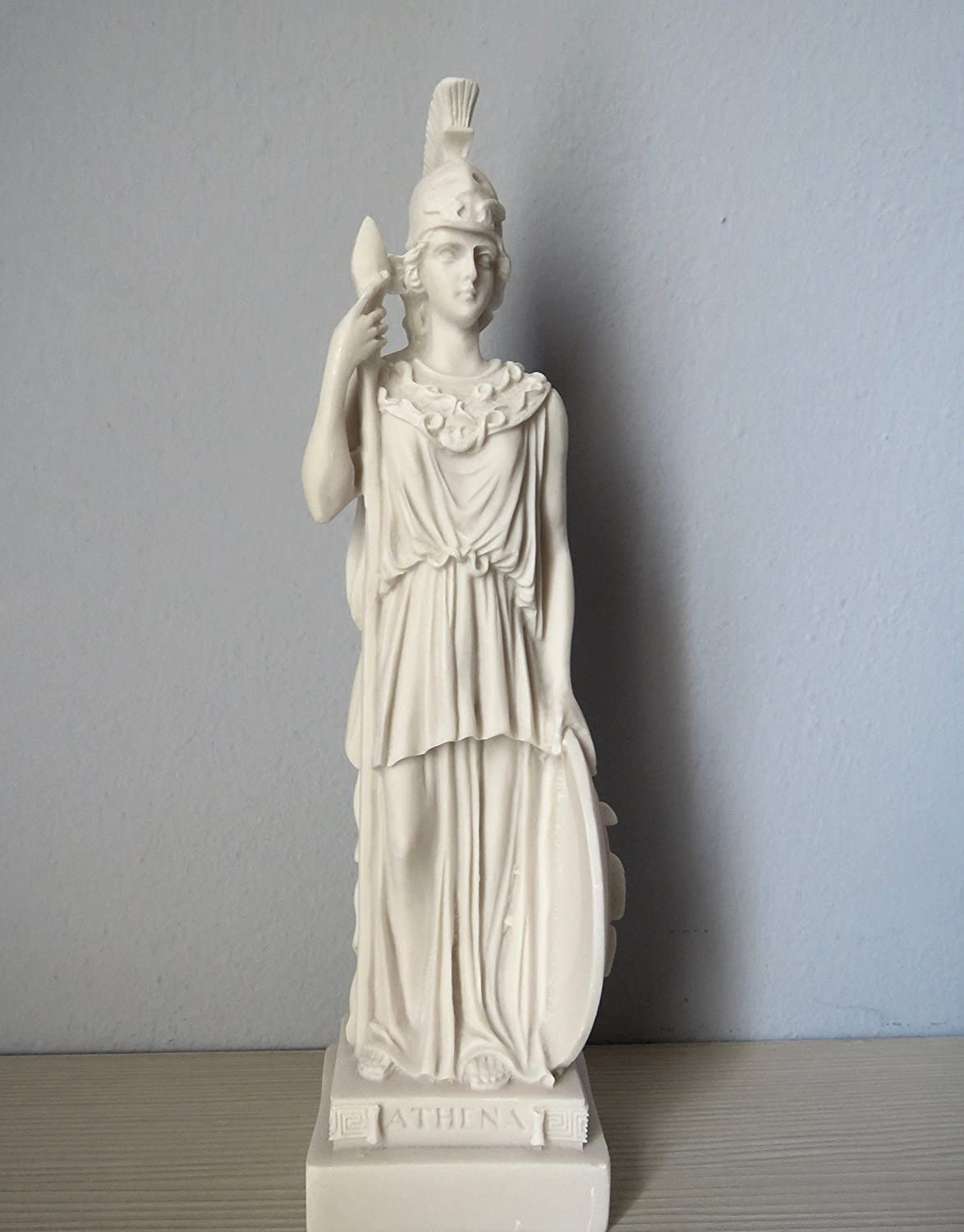 Goddess Athena Statuette 8.5 Inch Tall 1.8 lb Greek Museum  Ships from USA Solid Brass Statue on Marble Base in Armor And Spear