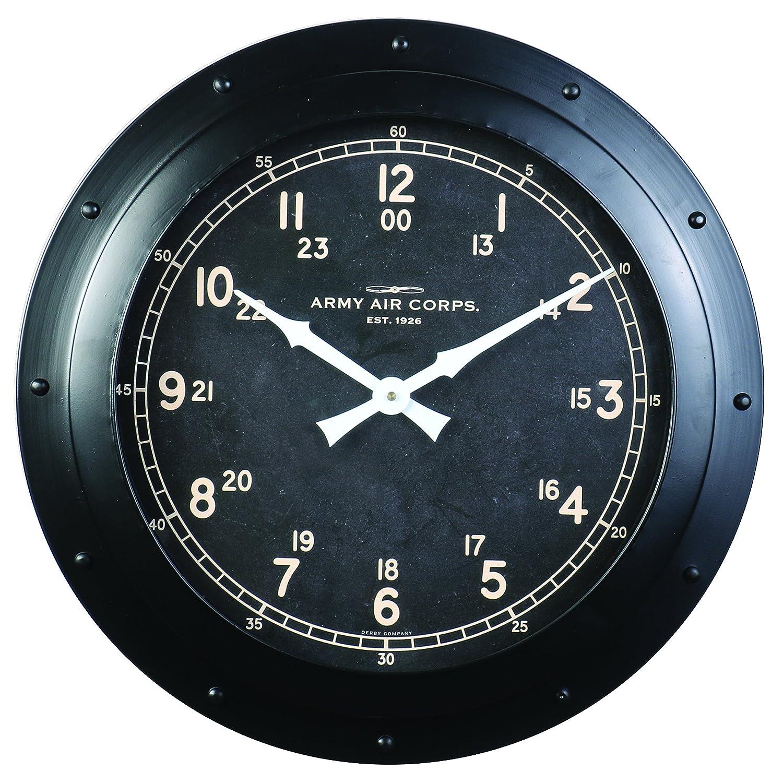 "18/"" H x 18.5/"" W x 3.94/"" D Wall Clock 4.93 lbs Black Army Air Corp Pendulux"