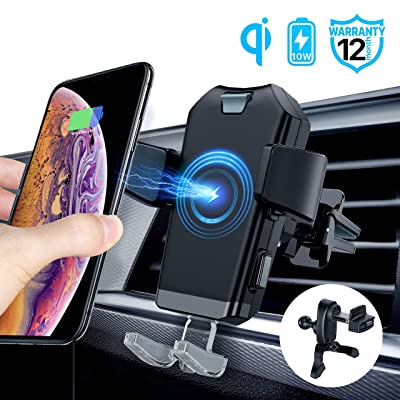 ACCGUYS Motorized Wireless Car Charger Mount,10W Qi Fast Charging Air Vent Phone Holder, Auto-Clamping Adjustable Car Mount Compatible with Samsung Galaxy Note 9/8/ S9/ S8,iPhone Xs Max/XR/X 8/8 Plus: Home Audio & Theater
