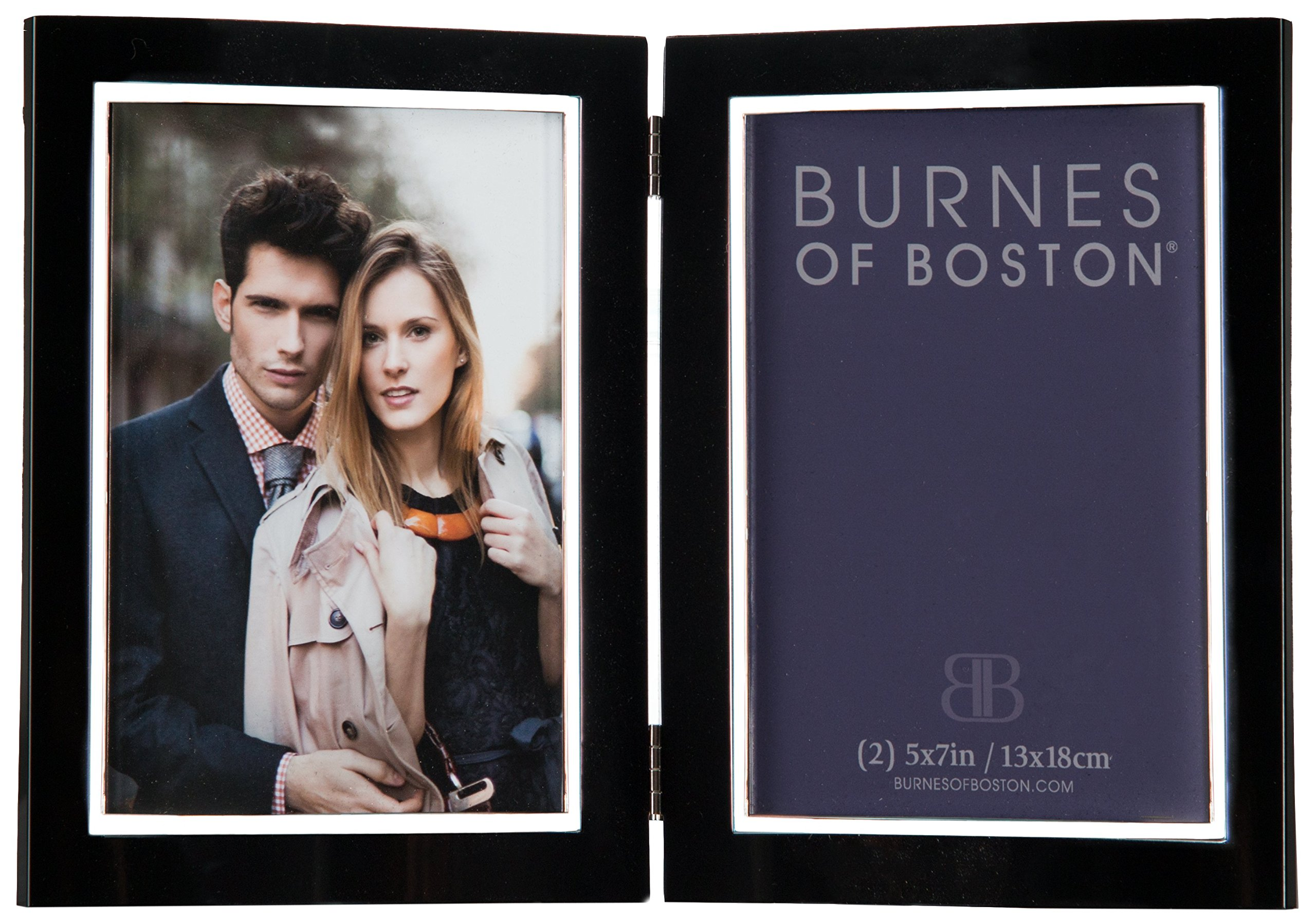 Burnes of Boston 163257 City Lights Double Hinged Picture Frame, Black, 5 by 7 Inches