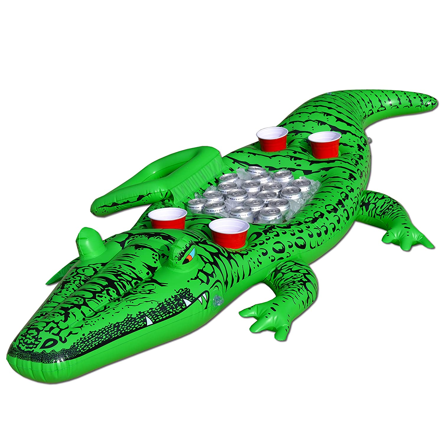 Amazon.com : GoFloats Giant Party Gator Floating Alligator With Cooler And  Cup Holders, Over 6u0027 Long : Sports U0026 Outdoors
