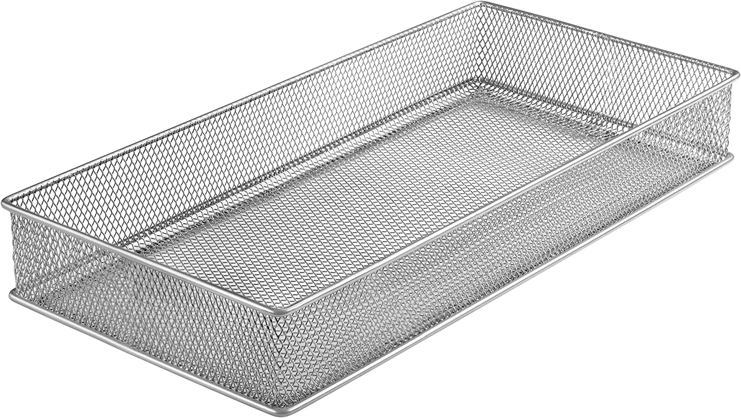 YBM HOME Silver Mesh Drawer Cabinet and or Shelf Organizer Bins, School Supply Holder Office Desktop Organizer Basket 1591s (1, 6x12x2 Inch)