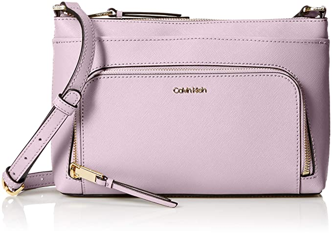 Calvin Klein Lily Saffiano Leather Top Zip Crossbody, orchid