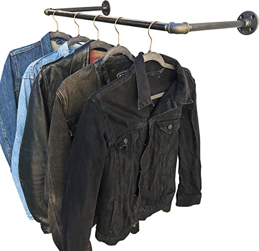 DIY CARTEL Industrial Pipe Wall/Ceiling Mount Clothing & Garment Rack - Hardware ONLY - Perfect Retail Display, Hanging Plants, Organizing, Laundry ...