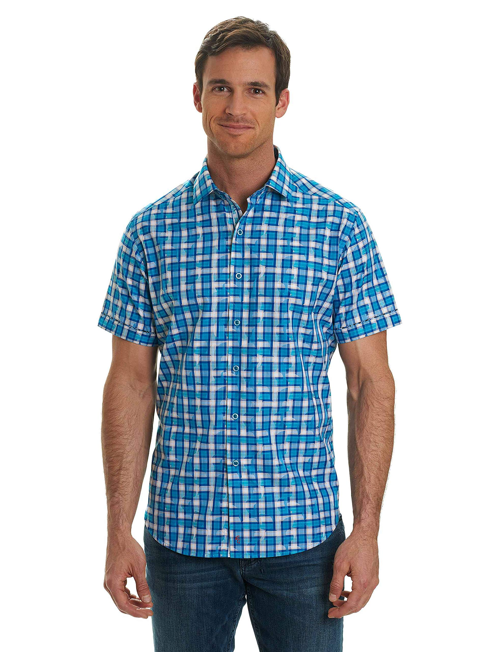 Robert Graham Men's Tangier Classic Fit Cotton Sport Shirt, Teal, XLarge