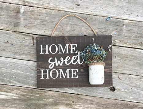 Amazon.com: Home Sweet Home de madera cartel Mason Jar Sign ...