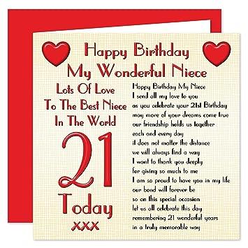 Niece 21st Happy Birthday Card