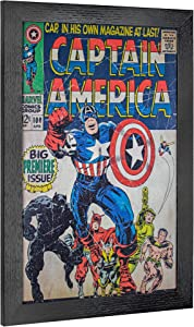 "Officially Licensed Marvel Comics Vintage Captain America Premiere Issue Comic Book Cover Framed Wall Art Print (19"" H x 13"" L)"