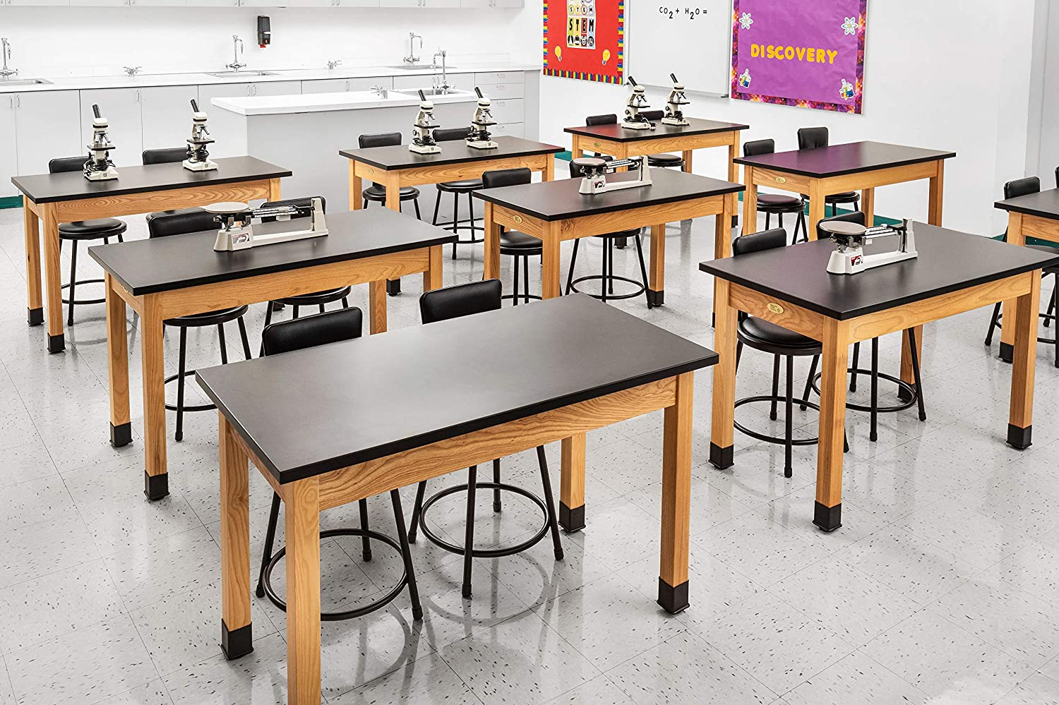National Public Seating High Pressure Laminate Top Science Lab Table Black Top and Ashwood Legs 60L X 30H