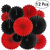 AKIO CRAFT Paper Fan Paperfan-casinoblackred-12pc