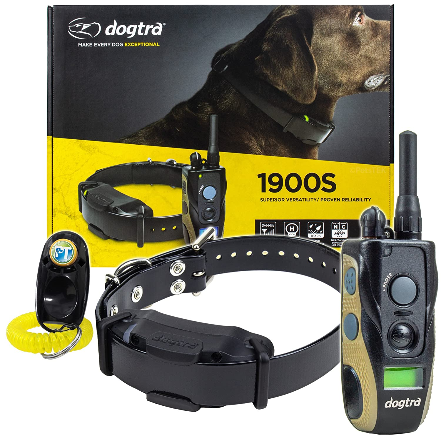 Dogtra 1900S 1902S Remote Training Collar – 3 4 Mile Range, Waterproof, Rechargeable, Shock, Vibration – Includes PetsTEK Dog Training Clicker